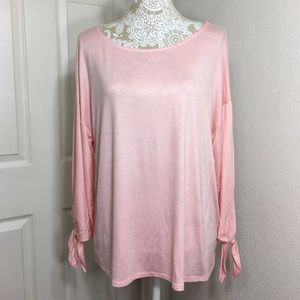 Gibson Blush Pink Tie Sleeve Knit Top